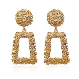 Wholesale Big Vintage Earrings for women gold color Geometric statement earring 2019 metal earing Hanging fashion jewelry trend