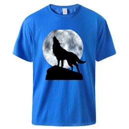 moon printed tee Australia - Moon Lonely Wolf Print Men's Tshirts 2020 Male Summer Short Sleeve Cotton T shirts Tee Man High Quality Loose Fit Top Tshirts