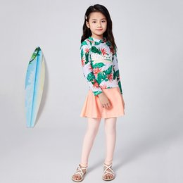 Wholesale banana splits online – design 2020 new children s split long sleeved trousers banana leaf Banana swimsuit girl medium and large children s sunscreen swimsuit RDJ3V
