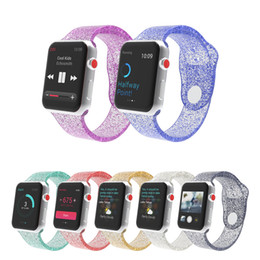 girl watches NZ - Designer Watch Strap for Apple Watch Crystal Dazzling Pink Silicone Watch Strap Iwatch12345 Woman Girl Sport Straps