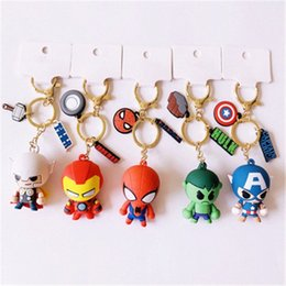 marvel key rings NZ - 3D Cartoon Figure PVC Marvel Avengers Keychain Aveng Cute Superhero Batman Key Chain Bag Key Ring Kids Key Holder Trinket Gift wLJu#