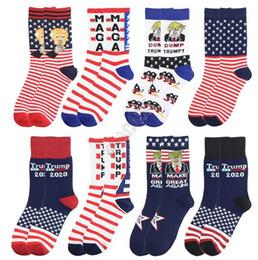 Wholesale striped athletic tube socks for sale – custom President Trump Mid carf Length Sock Unisex Socks Skateboard Hip Hop Socks Long Tube Stockings Letters Striped MAGA Socks Hosiery D82611
