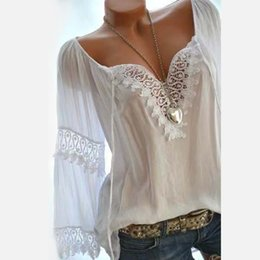 white lace cap sleeve top UK - Plus Size 5XL Women Lace Long Sleeve Blouse Female Patchwork White Blouses Summer Autumn Streetwear Sexy Ladies Tops LJ200811