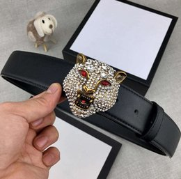 tiger head belt UK - Fashionable Diamonds Brass Tiger Head Designer Belts Luxury Belts Mens Women Belt Casual Smooth Buckle Width about 38mm High Quality