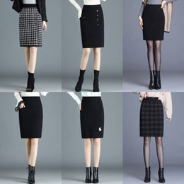 Wholesale mink skirts resale online - Woolen knitted One Step bodycon Tight tight Autumn and Winter new one step slimming skirt women s high waist mink velvet thickened shea