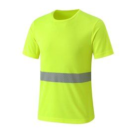 safety work clothing NZ - Safety Clothing Reflective Strip High Visibility Tops Tee Quick Drying Short Sleeve Working Tshirt Fluorescent Yellow Workwear T190622