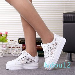 lace cutout platform Australia - Hot Sale- Summer Women Shoes Casual Cutouts Lace Canvas Shoes Hollow Floral Breathable Platform Flat Shoe White Black