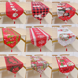 christmas tables NZ - Christmas Table Cloth Runner Flag Santa Claus Banquet Home Decoration Embroidered Xmas Table Decoration Cover Mat Cover 33*180cm FFA4335