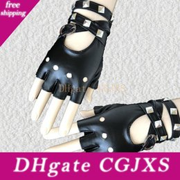 rock leather gloves Australia - Women Sexy Gothic Punk Cool Disco Dance Rock -And -Roll Fingerless Ladyies Short Pu Leather Gloves Black Red White