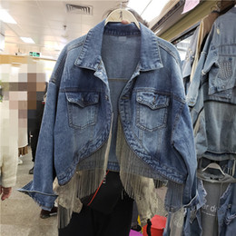 Wholesale girl short jacket jeans resale online - 2020 Spring Autumn Fringed Chain Jeans Jacket Women Short Long Sleeve Denim Coats Girl Students Korean Loose Streetwear Overcoat