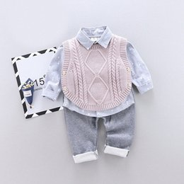 long sleeve baby vests NZ - Bear Leader 2020 New Baby Boy Casual Clothing Set 3Pcs Knitted Vest+ Print Long Sleeve Shirt + Solid Pant Kids Boys Autumn Suits kvzx#