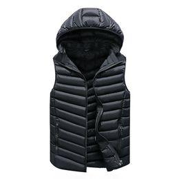Wholesale warm vests for men resale online - Vest Men Solid Men s Winter Jacket Warm Men s Outerwear Waistcoat Casual Vest for Men Hooded Jacket Man Sleeveless Men s Vest CX200817