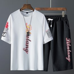 Wholesale nice tracksuits resale online – Nice Men Summer Short Sleeve T shirts And Tops Shirts Hip Tops Suit Men Sports Suit T Shirt Tracksuits