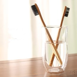 bamboo charcoal toothbrushes UK - 1PC Natural Bamboo Toothbrush Wholesale Environment Wooden Charcoal Bamboo Toothbrush OutDoor Travel Oral Care Soft Bristle