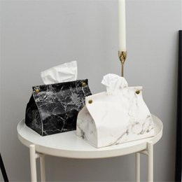table pouch UK - Chic Tissue Case Box Container PU Leather Marble Pattern Home Car Towel Napkin Papers Bag Holder Box Case Pouch Table Decoration