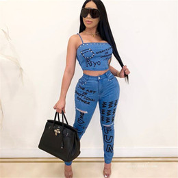 Wholesale jeans for womens resale online - Womens Designer Letters Graffiti Jeans with Pockets High Waist Skinny Jeans Spring Autumn Fashion Holes Pencil Jeans for Woman