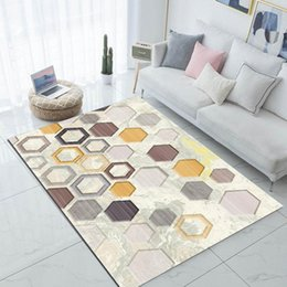 honeycomb mat NZ - Else Beige Yellow Gray Brown Honeycomb 3d Print Non Slip Microfiber Living Room Modern Carpet Washable Area Rug Mat kZME#