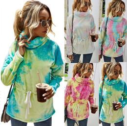 Wholesale women's tunic tops online – Women Sherpa Fleece Hoodies Tunic Sweatershirt Color Tie dye Plush Thicken Warm Furry Pullovers Turtleneck Sweater Gradient Tops D82609