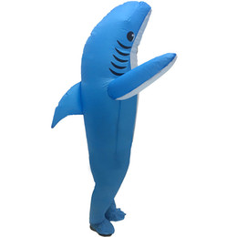 Halloween Cosplay Inflatable Clothes Blue Shark Funny Theme Costume Casual Unisex Free Size Long Sleeve Apparel Dropshipping