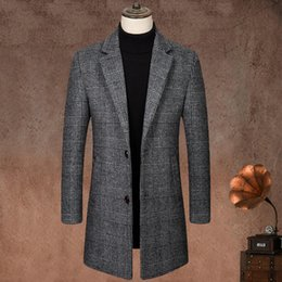 Wholesale plaid trench coat men resale online - Houndstooth Woolen Trench Coat for Autumn Fashion Trend Clothing Men Vintage Wool Long Jackets Casual Plaid Windbreaker Cashmere