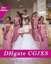 Wholesale bridesmaids waist sashes resale online - 2019 Blush Pink Bridesmaid Dress Off Shoulder Sleeveless Zipper Floor Length Sheath Satin Beaded Sash Pleats Empire Waist Maid Of Honor Go