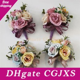 Wholesale roses clothes fashion online – design Simulation Artificial Flower Brooch Pin Rose Lace Silk Fashion Groom Groomsman Corsage Flowers Clothing Wedding Decoration hy Uu
