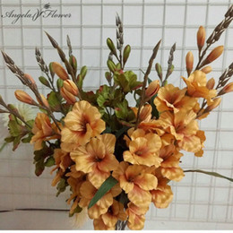 flower gladiolus Canada - 70cm 7 head Artificial gladiolus flower silk orchid plant autumn sword orchid decor wedding fake flower table Christmas party XNQN#