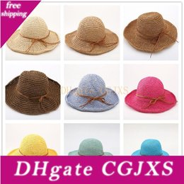 elegant sun hats for women UK - Fashion Women Raffia Grass Straw Folding Wide Brim Sun Hat For Elegant Lady Dome Fedora Lady Sunbonnet Sun -Shading Beach Sunhat