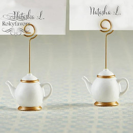 table place settings Australia - 100PCS Tea Pot Place Card Holder Wedding Favors Bridal Shower Birthday Party Favors Tea Time Party Table Decor Supplies Event Setting Gifts
