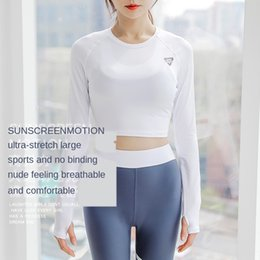 sexy white tight clothes UK - Fitness jacket women's long-sleeved tight sexy beauty back waist-exposed short quick-drying White running clothing sports yoga clothes T-shi