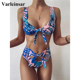 Discount high waist two piece set swimwear Leaves Printed High Waist Bikini Female Swimsuit Women Swimwear Two-pieces Bikini set Knotted Bather Bathing Suit Swim V