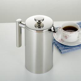 350/800 / 1000ML Coffee Pots French Press Chá Duplo Walled Stainless Steel Cafeteira chá Pot com filtro Filtro GGA3697-7 em Promoção