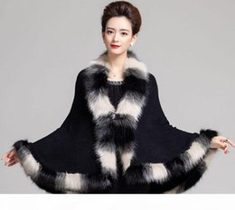 Wholesale cashmere capes fox fur for sale - Group buy Faux Fox Fur Mixed color Poncho Coat Autumn Winter Fashion Knitted Cardigan Wool Cashmere Sweater Womens Capes and Ponchoes