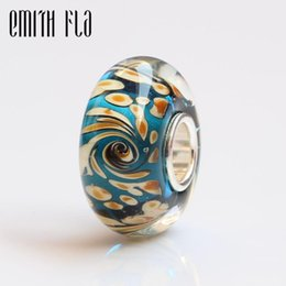 Discount sterling silver core beads Emith Fla 100% Real 925 Sterling Silver Big Core Murano Glass Bead Fit Original European Charm Bracelet Women DIY Jewelr