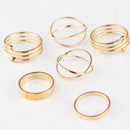 gold toe ring wholesale NZ - 6pcs set Gold Ring Set Combine Joint Ring Band Ring Toes Rings for Women Fashion Jewelry