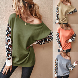 Wholesale casual knit clothing for women resale online - 2020 Leopard Patchwork Knit Sweater for Women Ladies Winter Autumn Blouses Oversize Loose Sweaters Hoodie Warm Knitted Tops Clothing LY82401