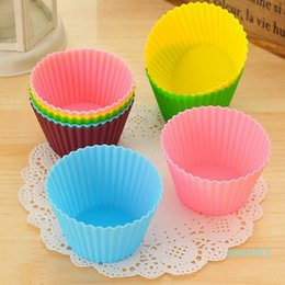cups shape cake NZ - 7cm Round Shaped Silicone Cake Baking Molds Jelly Mold Silicone Cupcake Pan Muffin Cup Baking Cup Mold LX3791