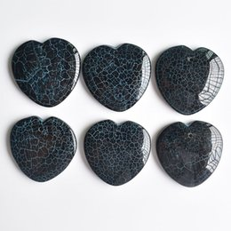 onyx pendants wholesale Australia - wholesale 6pcs lot 2020 new Fashion high quality natural onyx heart shape pendants 36mm for jewelry making free shipping