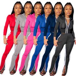 Wholesale sexy open pants resale online - Designer Women Two Piece Set Tracksuits Sexy V Neck Crop Tops Pants Zipper Opening Split Suit Autumn Tracksuit Women Clothing Female