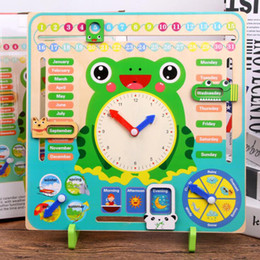 learning for infants UK - Montessori Weather calendar clock Wooden Toys Calendar Clock Time Cognition Preschool Educational Teaching Aids Toy For Children LJ200922