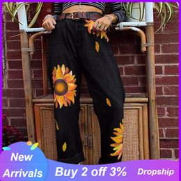mom jeans UK - Women Jeans High Waist Oversize Fashion Sunflower Printing Denim Jeans Womens Big Size Woman Mom Style Vaqueros Mujer