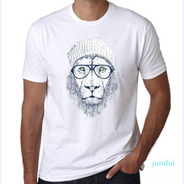 Groihandel Hot Sale Fashion Cotton O-neck Lion Printed T Shirt for Men Summer Short Sleeve Casual Men Hip Hop Tshirt Tops Tees