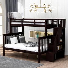 Escalera Cama con doble cama con gemelas con trastero y guardia de guardia para dormitorio dormitorio para niños adultos espresso color lp000019Aap en venta