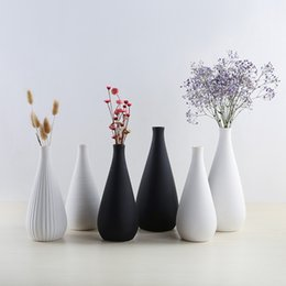 modern tabletop decor Australia - Simple Modern Ceramic White Black Vase Living Room Tabletop Decor Artificial Dried Flowers Pots Home Decoration Wedding Gift