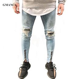Wholesale size 38 slim fit jeans for sale – denim GMANCL Hip Hop Mens Jeans patches distressed jeans slim fit Skinny leg rock Ripped Stretch denim Jogger pants Plus Size
