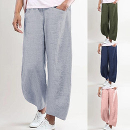 Wholesale summer linen trousers women for sale – dress Womens Casual Loose Cotton Wide Leg Pants Solid Color Linen Trousers Office Pants Lady Thin Summer