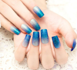 Discount pre design false nails glue New 24PCS Pre-design Full Cover Long glitter Square head Fake False Acrylic Sticker Nails Tips With Free Glue Gel