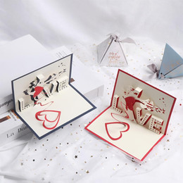 Discount dimensional birthday cards Three-dimensional Greeting Card 3D Up Paper-cut Custom Love Tree Greeting Postcard Birthday Anniversary Valentine's