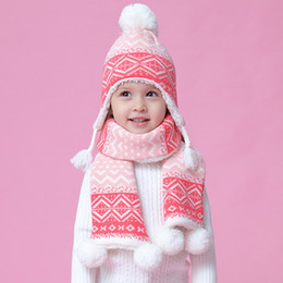 Discount stars chiffon scarf white Three-piece Hat Scarf Gloves Set Children Hat Winter Warm Mitten PomPon Knitted Hat Autumn Winter Gilr and Boy Cap Fashion Sets Fleece Lined