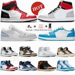 Wholesale ivory fabric dye resale online - With Box AirRetros Low Paris UNC Royal Travis Scotts High Mens Basketball Shoes Mid Smoke Grey Obsidian Tie Dye Womens Trainers Sneakers